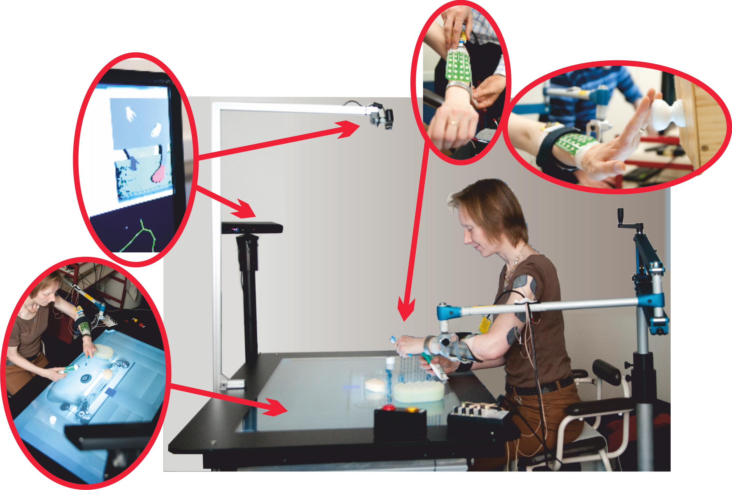 Stroke rehabilitation system using electrical stimulation array to activate muscle artificially